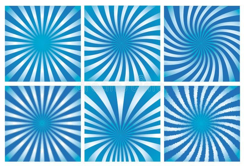 tła sunburst błękitny ustalony ilustracji