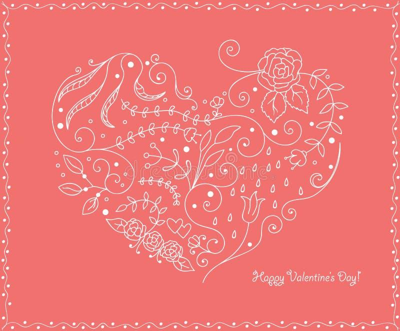 tła tła projektu karty kwiecista ilustracja serce odizolowane kształtu white pomidorowego Wiosna i miłość ilustracji