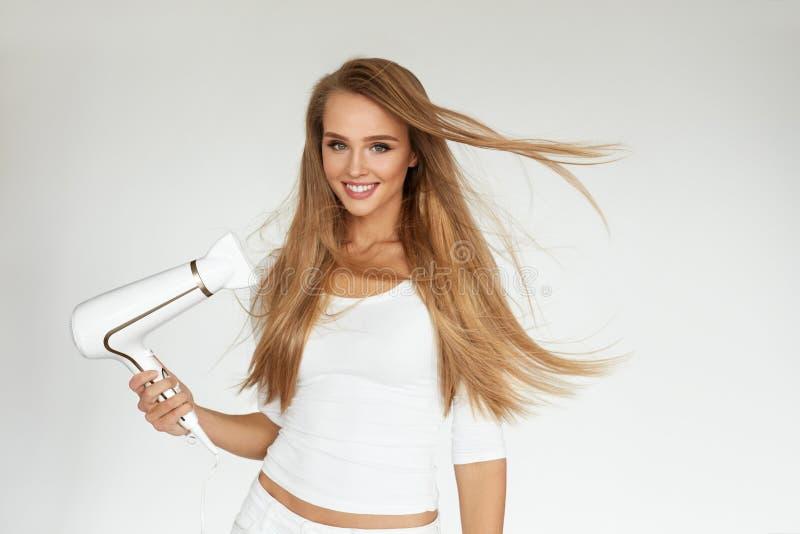 tła target3971_1_ biel włosy odosobniony ścieżki biel Kobieta Suszy Pięknego blondynka Długo Prostego włosy fotografia stock