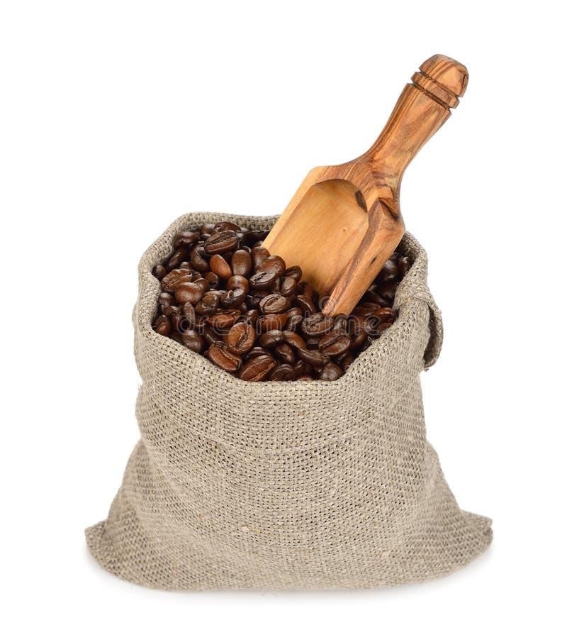 tła torby fasoli kawy odosobniony biel fotografia royalty free