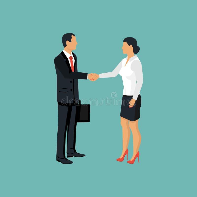 tła uścisk dłoni odosobnione mężczyzna białe kobiety ilustracja wektor