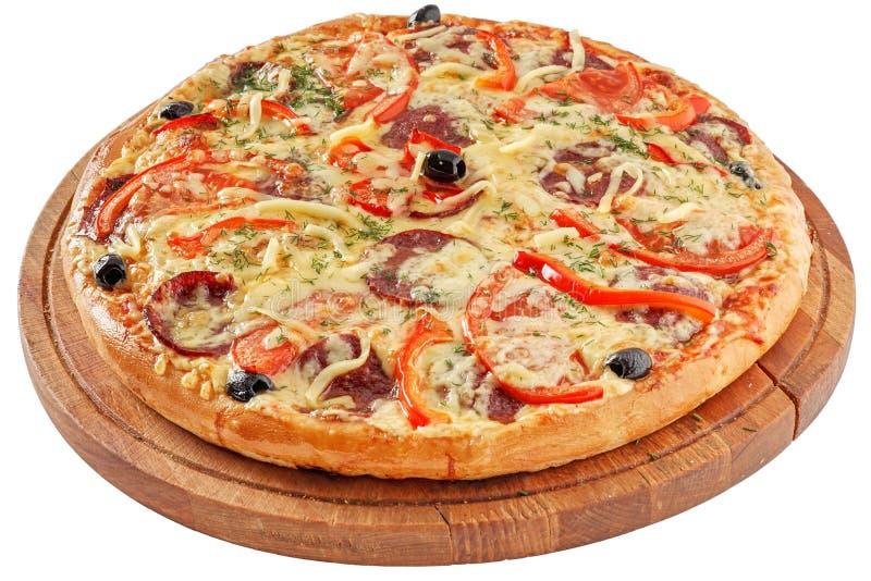 tła włoski kuchenny pepperoni pizzy biel fotografia royalty free