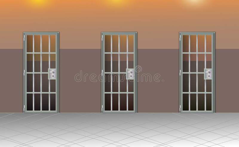 Tła więzienia wnętrze Więzienie komórki nowożytne z szarymi drzwiami Za barami W więzieniu, zmrok Wektor szczegółowa ilustracja royalty ilustracja