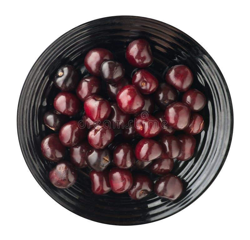tła wiśni łatwo wydobujący odosobniony biel Wiśnia na talerzu Zdrowy zdjęcia stock