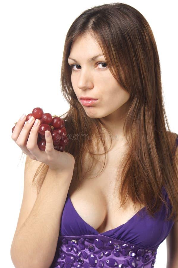 tła winogrona biała kobieta fotografia royalty free
