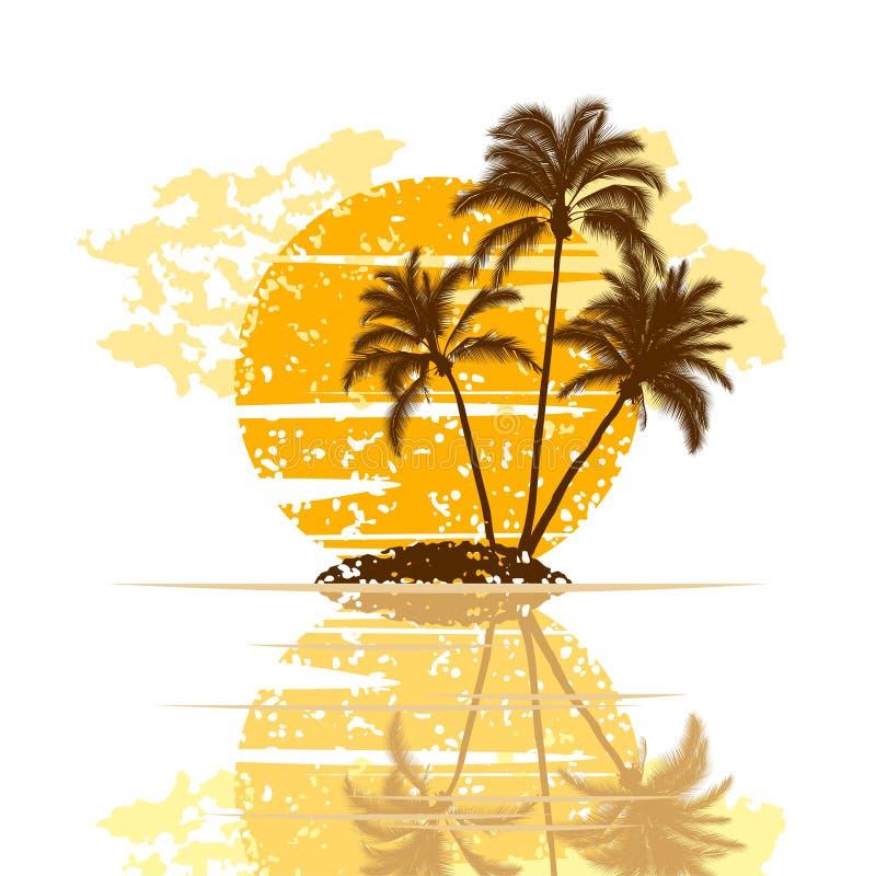 tła wyspy drzewka palmowe biały ilustracja wektor