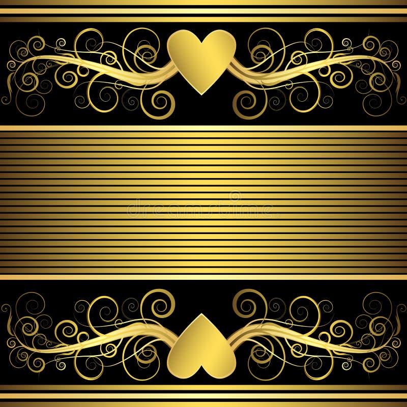 tła złocisty kierowy valentine wektor ilustracji