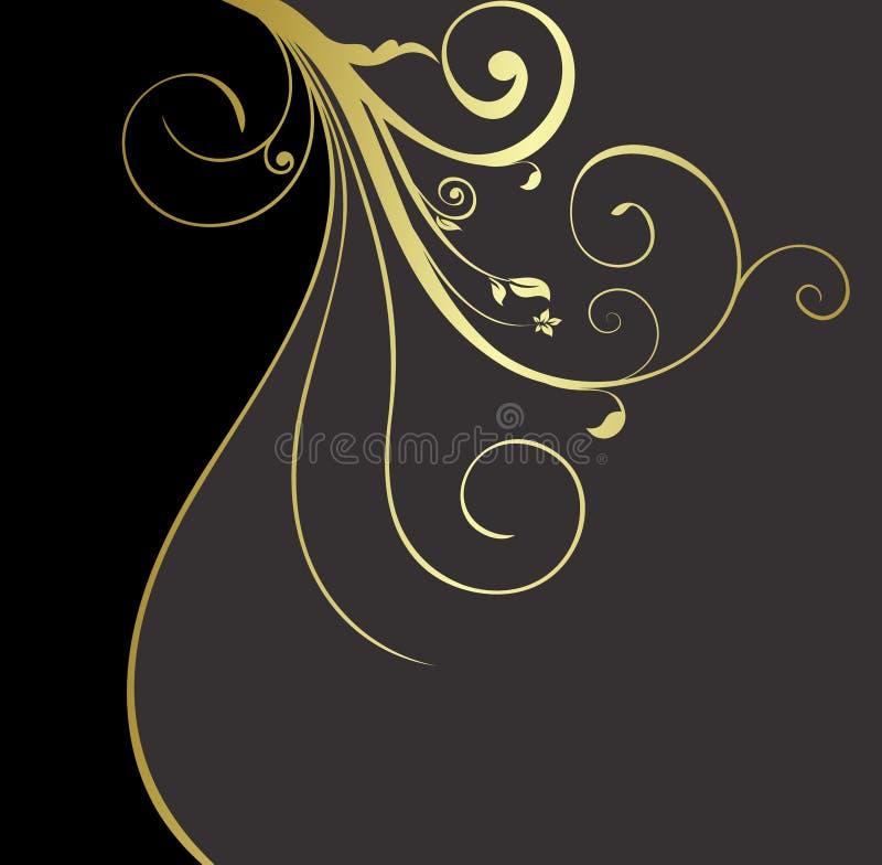 tła złoto czarny kwiecisty royalty ilustracja