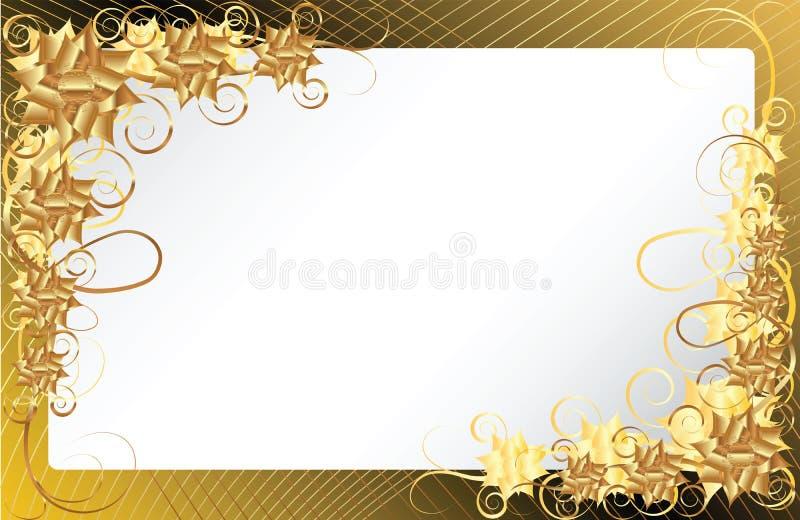 tła złoto kwiecisty ramowy ilustracja wektor