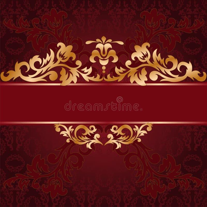 tła złoto ornamentuje czerwień ilustracji