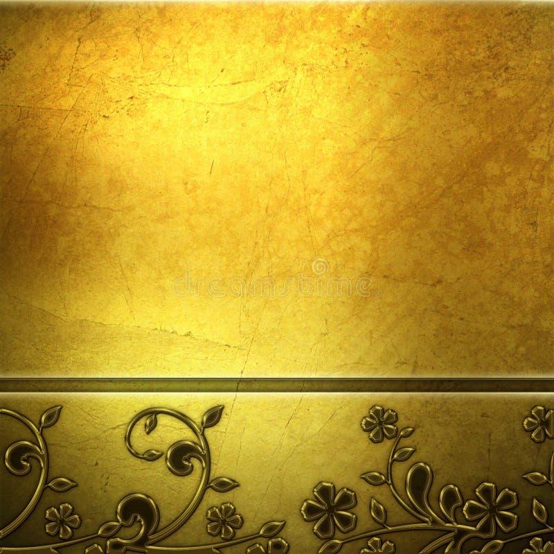 tła złoty metalu talerz ilustracja wektor