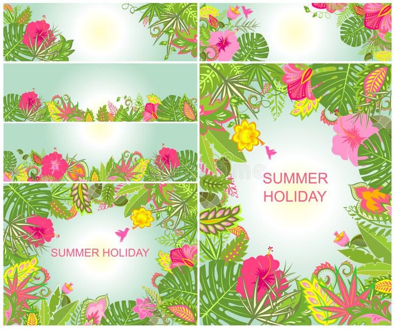Tła z tropikalnym ornamentem dla wakacji letnich [Nawracających] ilustracja wektor