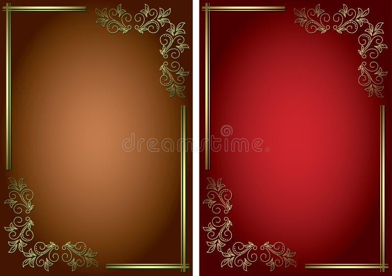 Tła z złotymi dekoracyjnymi ramami ilustracji