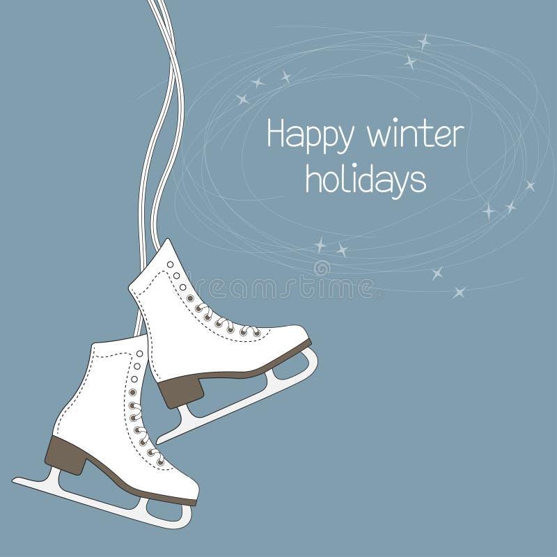tła zbliżenia żeńskie ręki mienia lodu żeński łyżwy snow ilustracja wektor