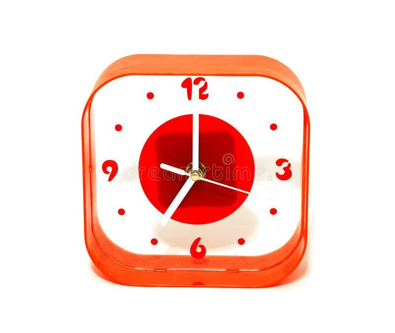 tła zegaru odosobniony czerwony biel obraz stock