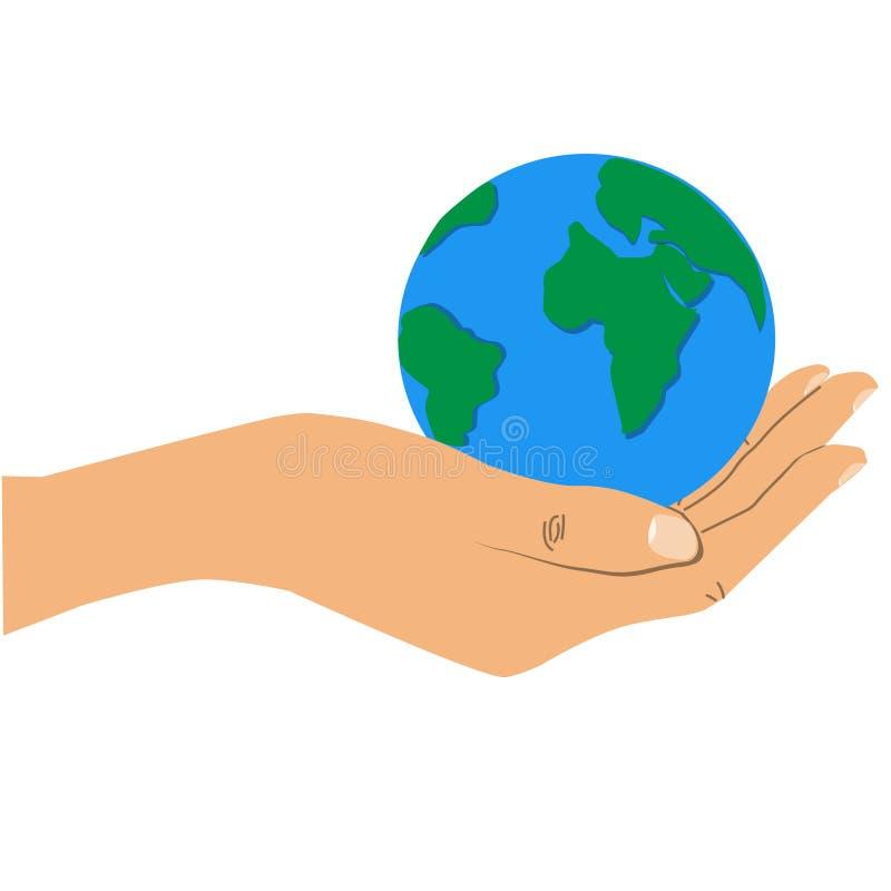 tła ziemi ręki mienia odosobniony biel ilustracja wektor
