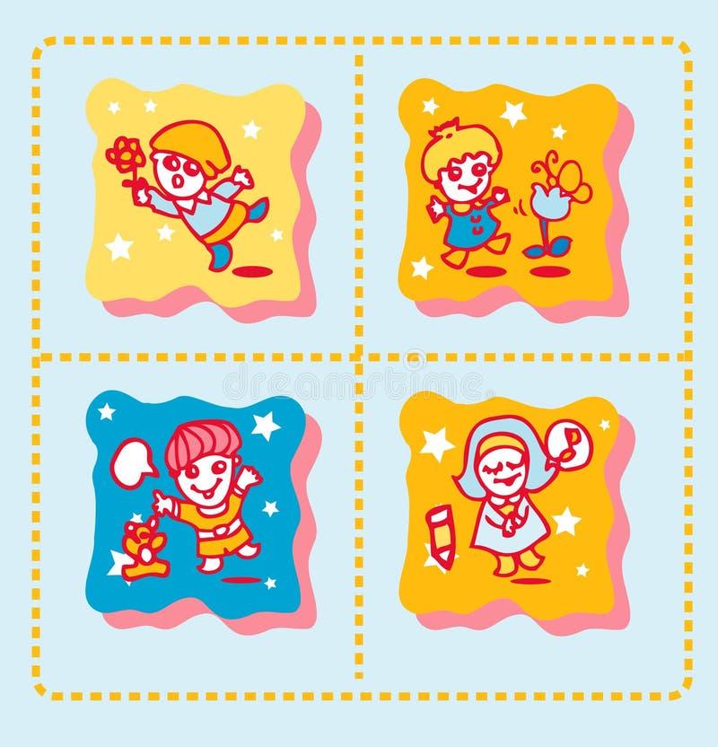 tło śliczni ikon dzieciaki royalty ilustracja