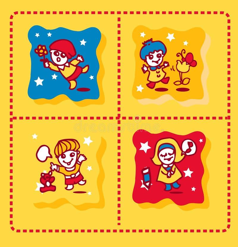 tło śliczni ikon dzieciaki ilustracji