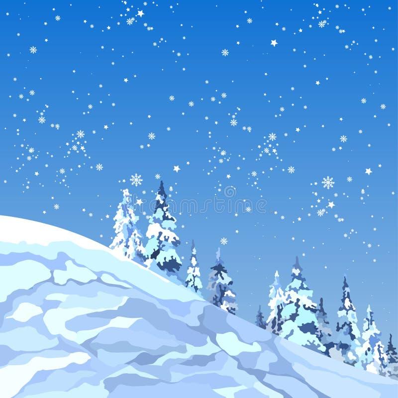 Tło śnieżna góra z jodłami i płatkami śniegu royalty ilustracja