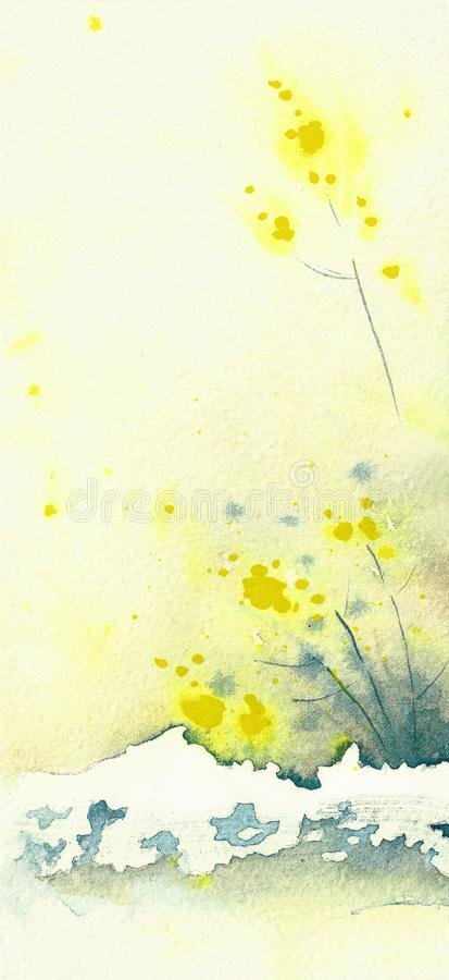 Tło - żółta mimoza Kolor żółty, pogodne krople ilustracji