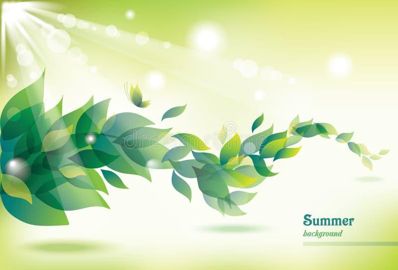 tło abstrakcjonistyczna zieleń opuszczać lato royalty ilustracja