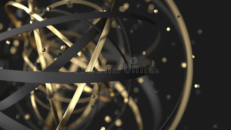 tło abstrakcjonistyczny luksus 3d złoto i czerń dzwonimy z cząsteczkami ilustracji