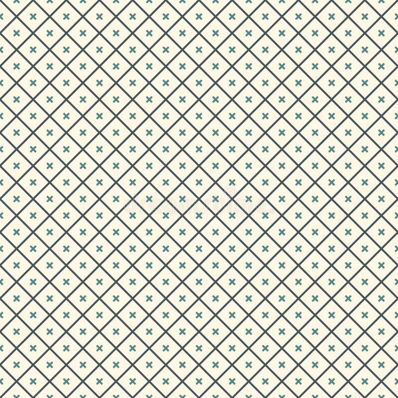 tło abstrakcjonistyczny minimalista Prosty nowożytny druk z krzyżami Bezszwowy wzór z geometrycznymi postaciami ilustracja wektor