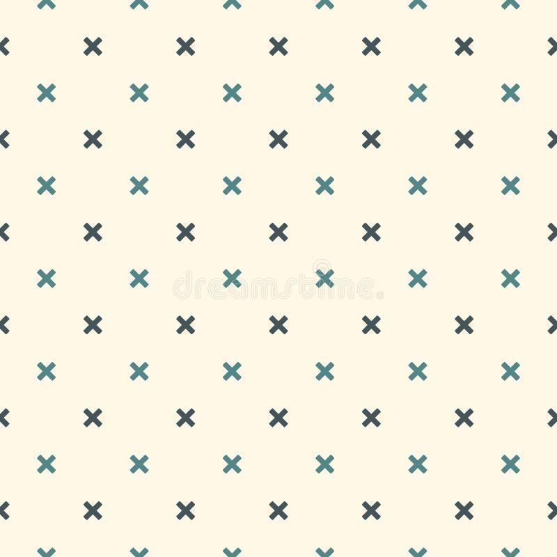 tło abstrakcjonistyczny minimalista Prosty nowożytny druk z mini krzyżami Bezszwowy wzór z geometrycznymi postaciami ilustracja wektor