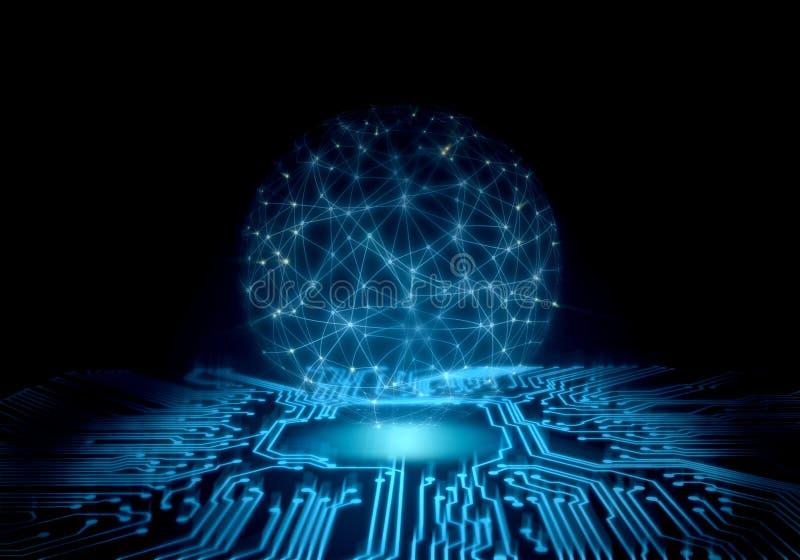 tło abstrakcyjna technologii perspektywiczna obwód deska z rozjarzoną energią przy centrum i drutu ramowej siatki globalną sferą obrazy stock