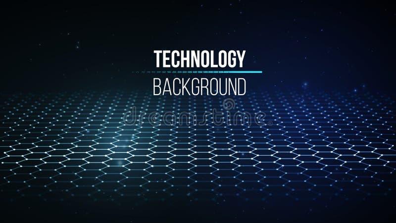 tło abstrakcyjna technologii Tła 3d siatka Cyber technologii Ai techniki drutu sieci futurystyczny wireframe royalty ilustracja
