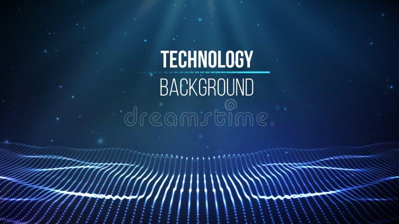 tło abstrakcyjna technologii Tła 3d siatka Cyber technologii Ai techniki drutu sieci futurystyczny wireframe ilustracja wektor
