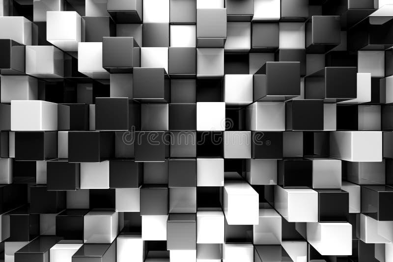Tło abstrakcyjne czarno-białych bloków ilustracji