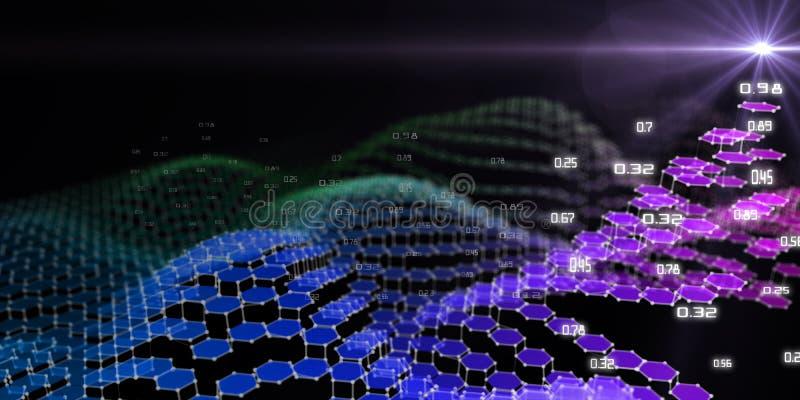 Tło abstrakcyjne z sześciokątną wielokątną strukturą danych i efektem soczewki Kwantowa kryptografia wirtualna Biznes zdjęcia royalty free