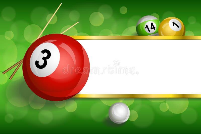 Tło abstrakta zieleni billiards basenu wskazówki piłki czerwona rama paskuje złocistą ilustrację royalty ilustracja