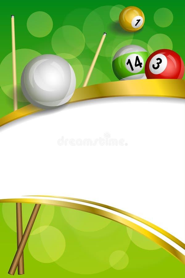 Tło abstrakta zieleni billiards basenu wskazówki piłki czerwonej ramy pionowo złocista tasiemkowa ilustracja ilustracja wektor