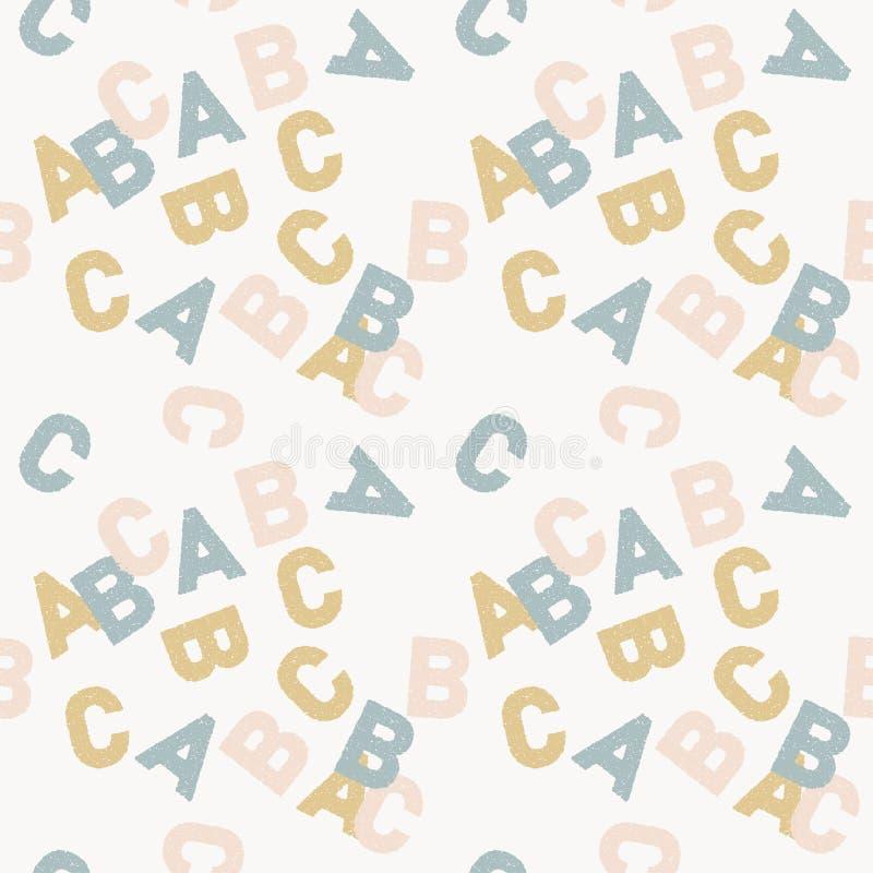 Tło anglików listów abc pastelowi miękcy kolory błękit, menchie i pomarańcze, ilustracyjny bezszwowy wektor ilustracji