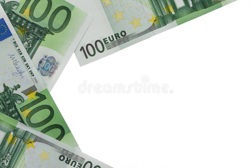 Tło banknoty w nominalnej wartości sto euro P zdjęcia stock