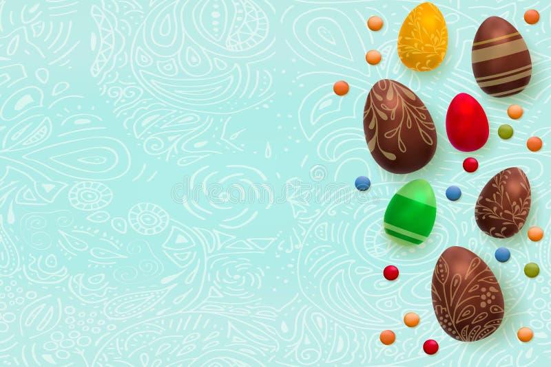 tło barwiący Easter jajek eps8 formata czerwony tulipanu wektor Szablonu wektoru karta z realistycznym 3d odpłaca się jajka, cuki ilustracja wektor