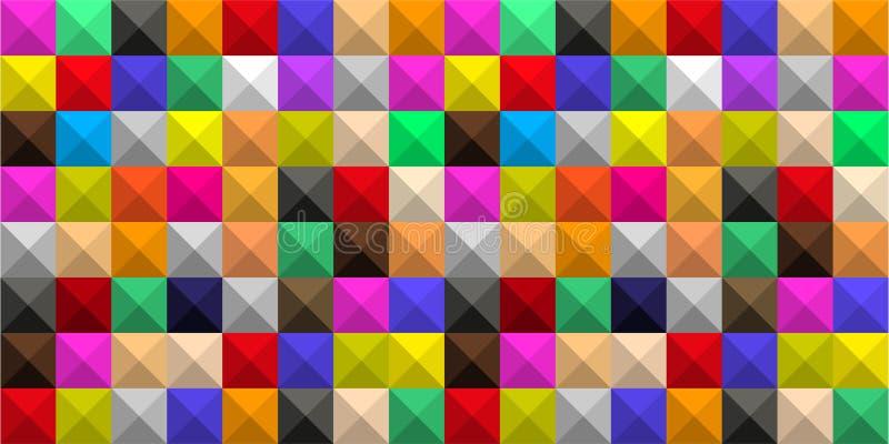 T?o barwioni kwadraty z cieniami w postaci graficznej geometrycznej wolumetrycznej mozaiki royalty ilustracja