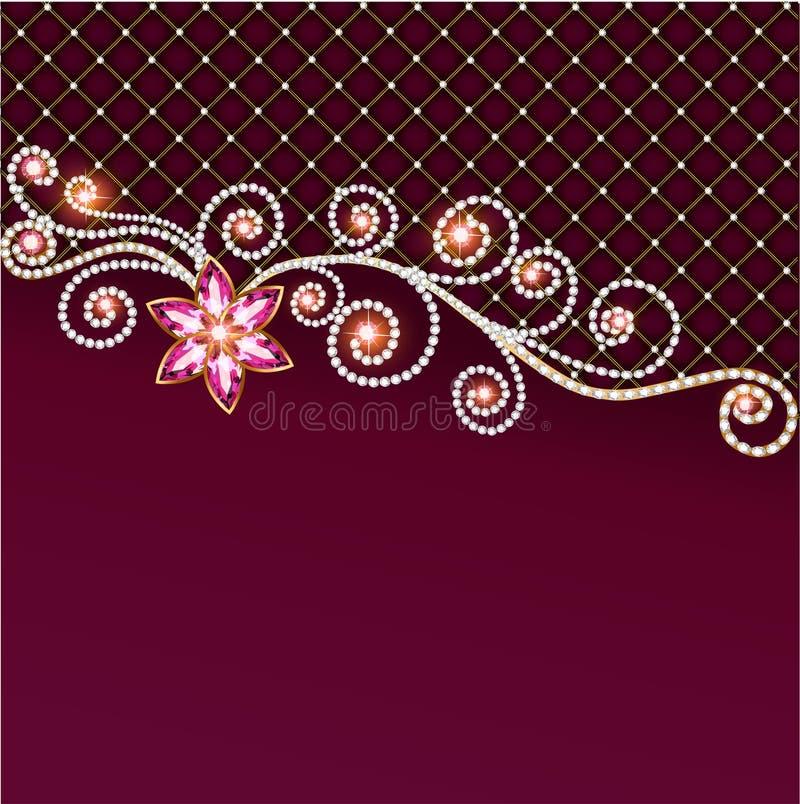 Tło biżuteria i cenni kamienie z kwiatem ilustracji