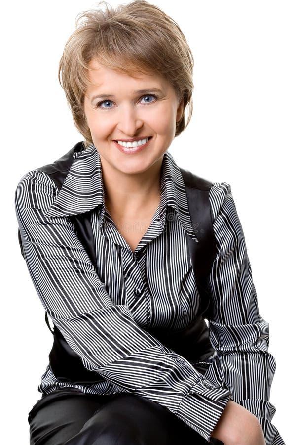 tło biała kobieta biznesowa siedząca zdjęcie stock
