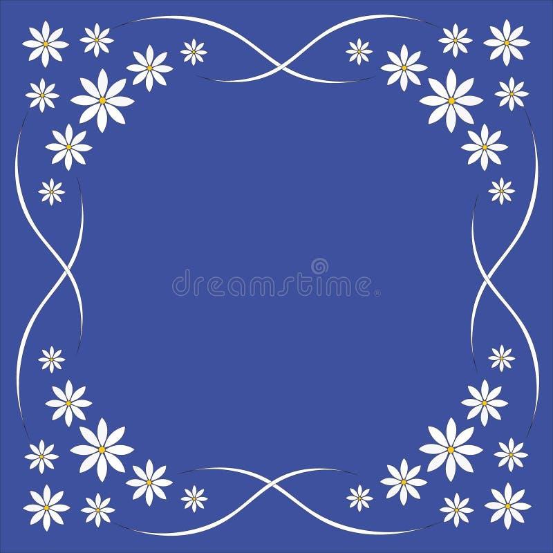Tło, biali kwiaty na błękitnym tle, rama dla kartka z pozdrowieniami, piękne stokrotki ilustracji