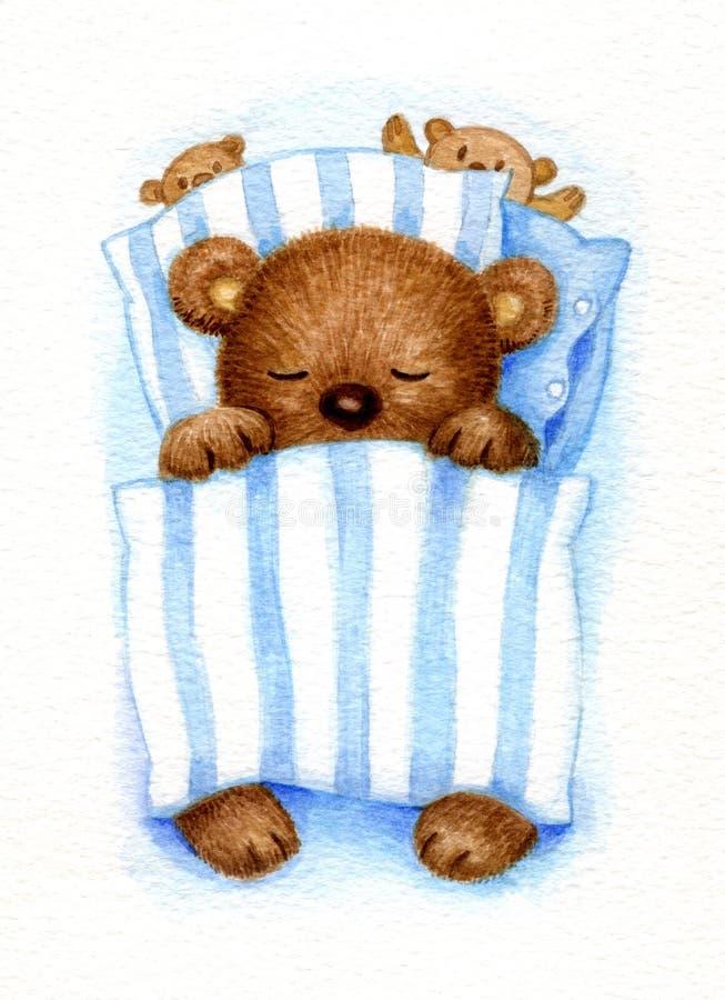 tło biel niedźwiadkowy sypialny royalty ilustracja