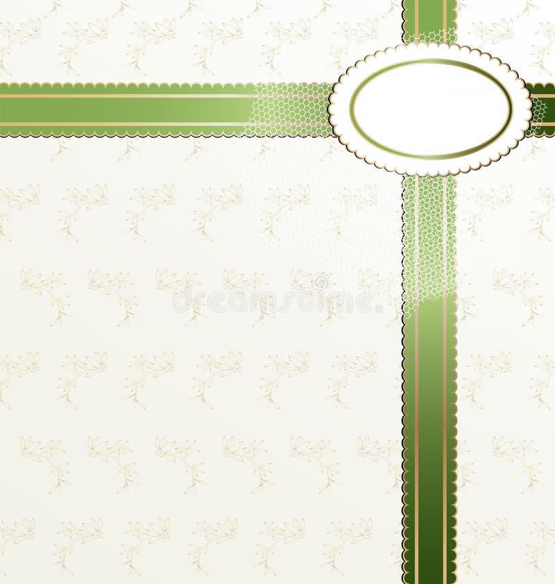 tło biel zielony tasiemkowy royalty ilustracja
