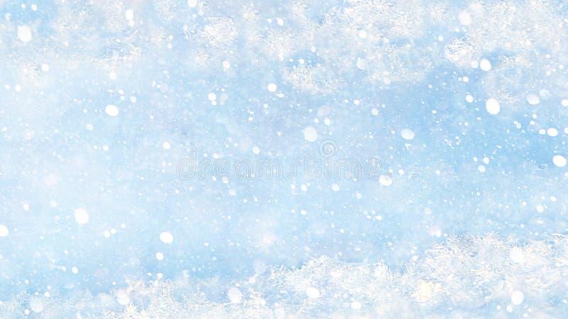 Tło Boże Narodzenie i Nowy Rok z niebieskim tłem śnieżnym, szablon nakładki w programie Photoshop, miejsce na tekst Karta noworoc zdjęcia royalty free