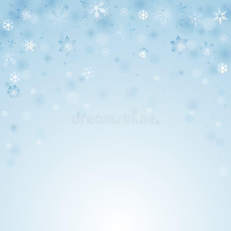 tło bożych narodzeń błękitni płatki śniegu ilustracja wektor