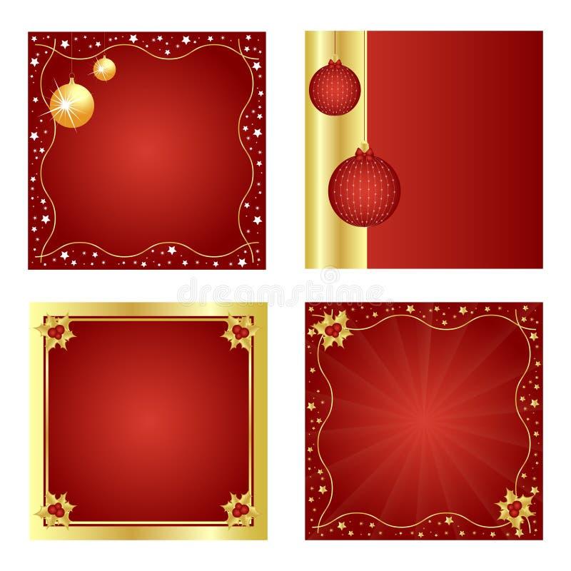 tło bożych narodzeń złoty czerwony set royalty ilustracja