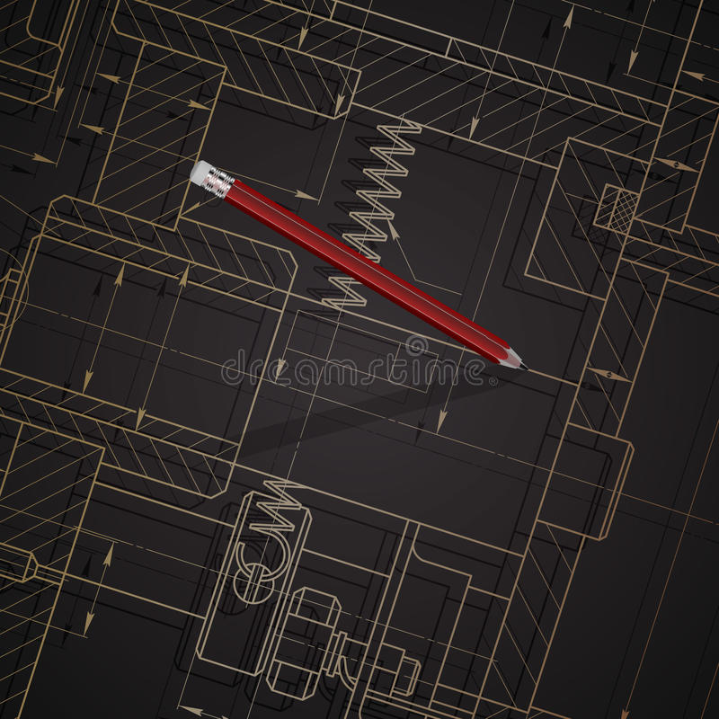 Tło budowa maszyn rysunki na zmroku zdjęcie stock