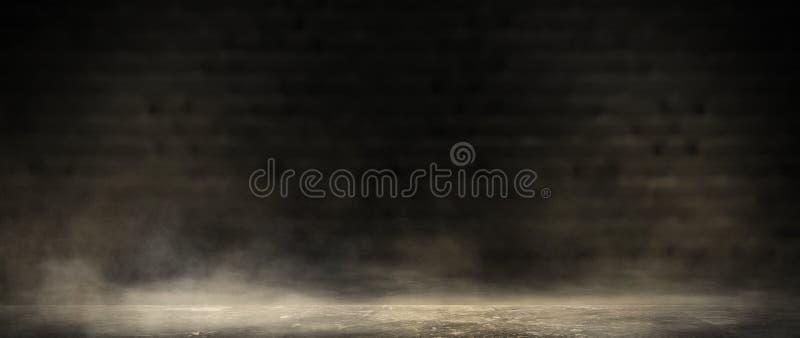 Tło ciemny pokój, dym i pył puści, zdjęcia stock