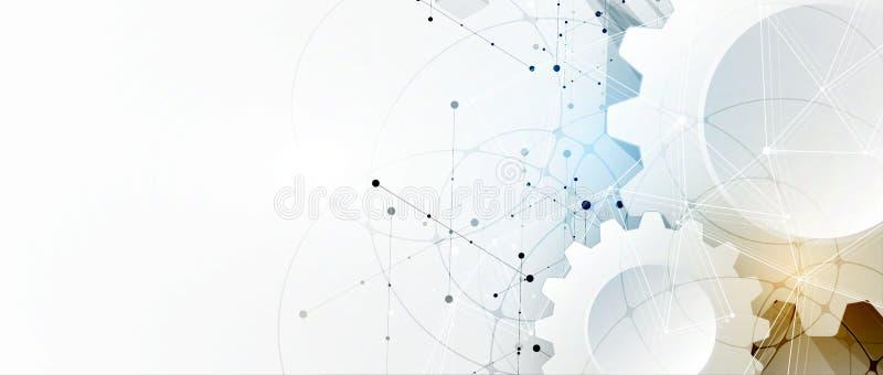 Tło danych technologicznych, koncepcja globalnego rozwiązania biznesowego royalty ilustracja